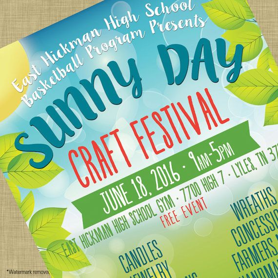 Summer Craft Bazaar Fair Market Expo Invitation Poster \/ Spring - fundraiser template free