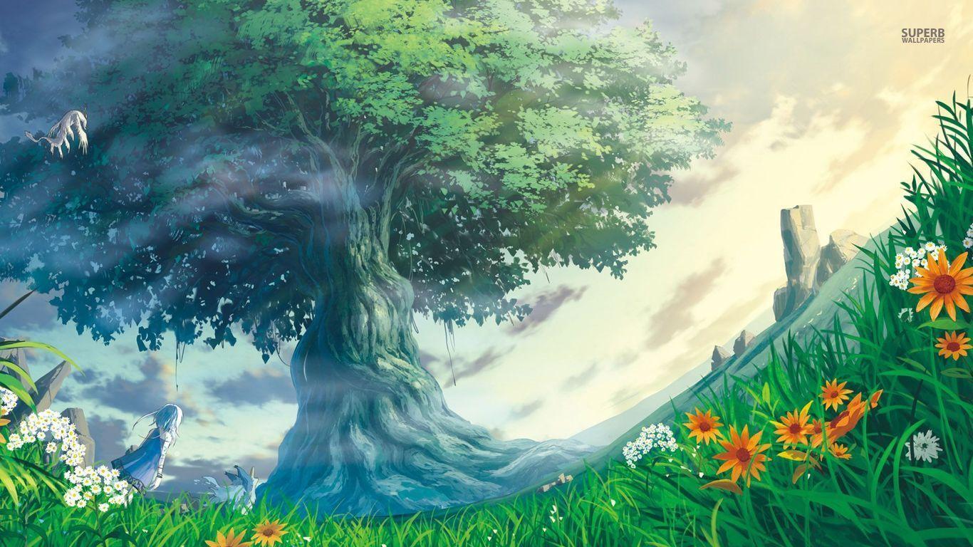 Tree Of Light Wallpaper Wallpaper Wide Hd Fantasy Art Art Anime Jungle