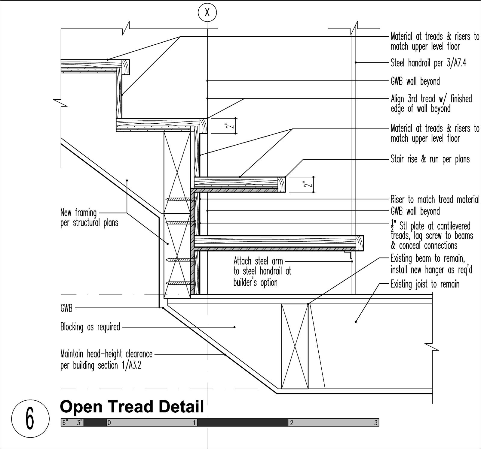 Staircase Plans Drawing Modern Transitions Stair Tread Detail Details Steel