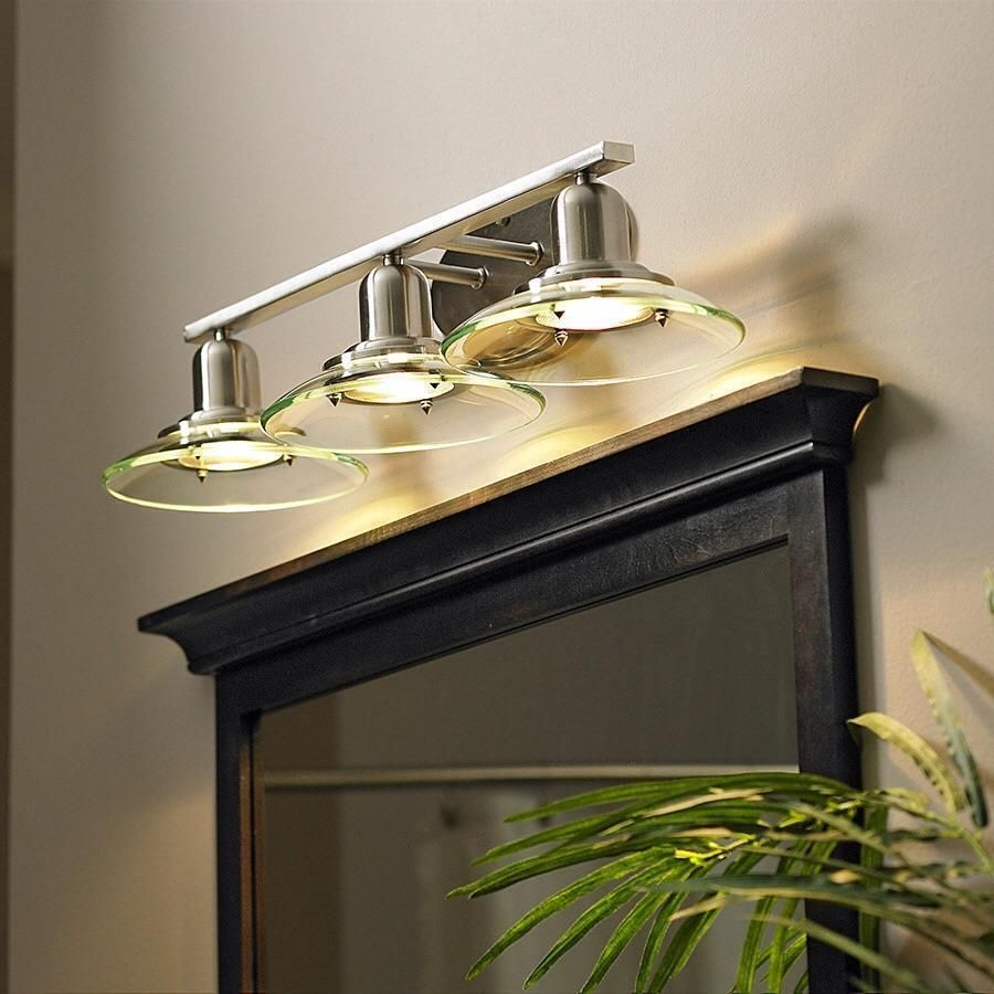 Allen Roth Galileo 3 Light Bathroom Vanity Light Fixture Brushed Nickel Glass Bathroom Vanity Lighting Lowes Bathroom Lighting Bathroom Lighting Design