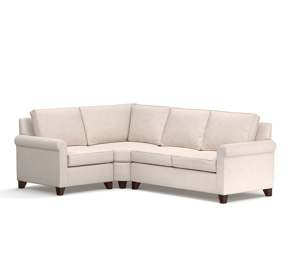 Cameron Roll Arm Upholstered 3 Piece Sectional With Wedge 3