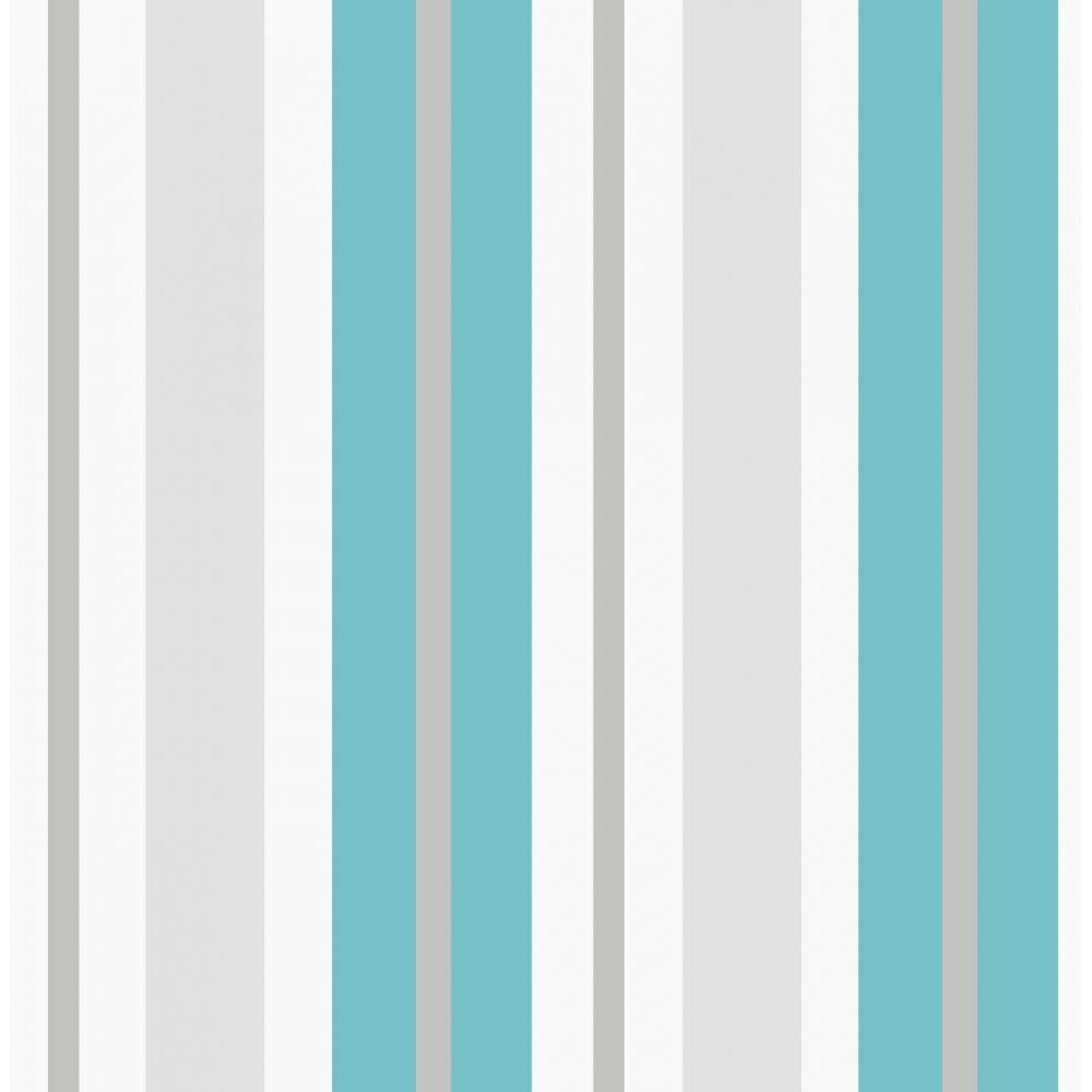 Fine Decor Ceramica Stripe Wallpaper Teal White Silver FD40378