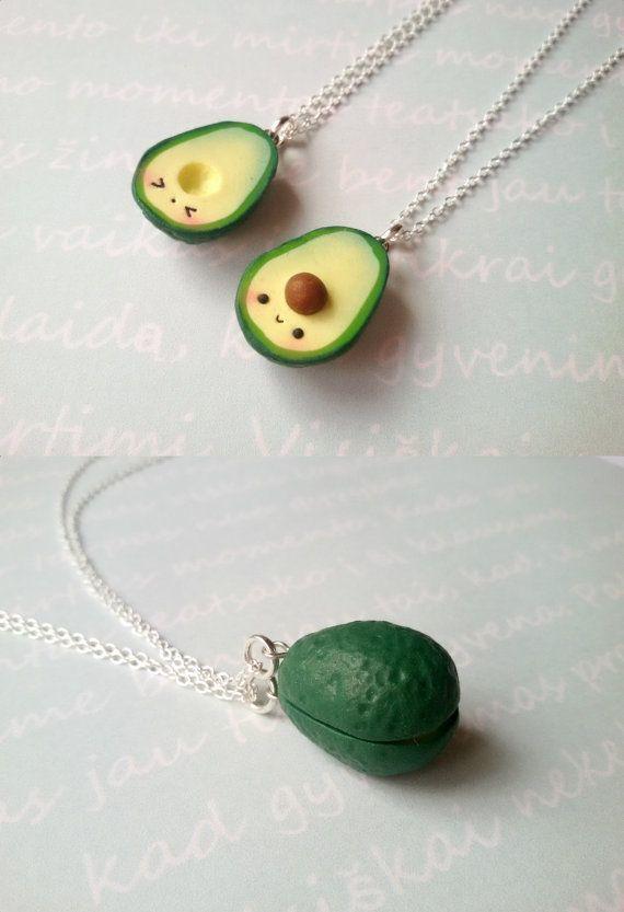 Green Avocado Necklace, vegan jewelry, clay charms, kawaii miniature food jewelry, best friend, kaw