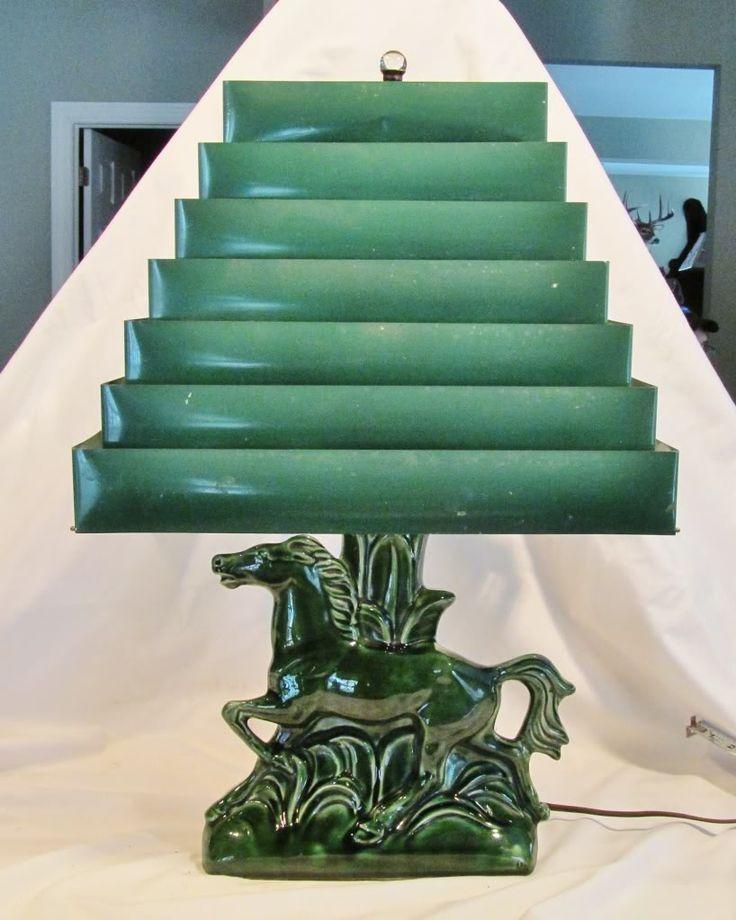 Superb Vintage McCoy Hull Royal Haeger Pottery Horse Lamp