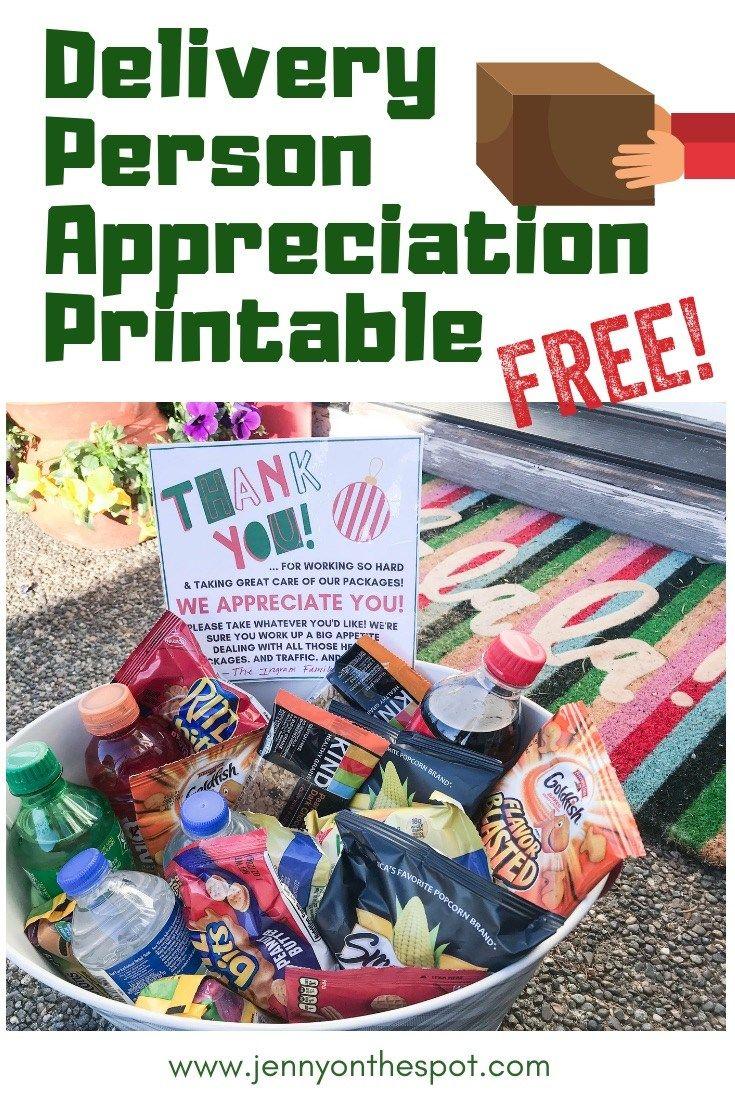 Delivery Person Appreciation Printable Christmas fun