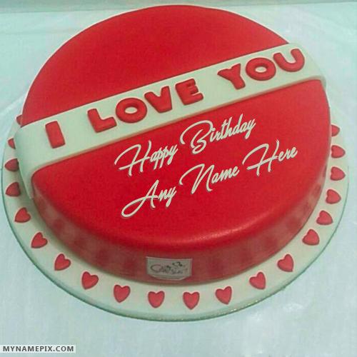 Romantic Red Velvet Happy Birthday Cakes With Name Birthday In