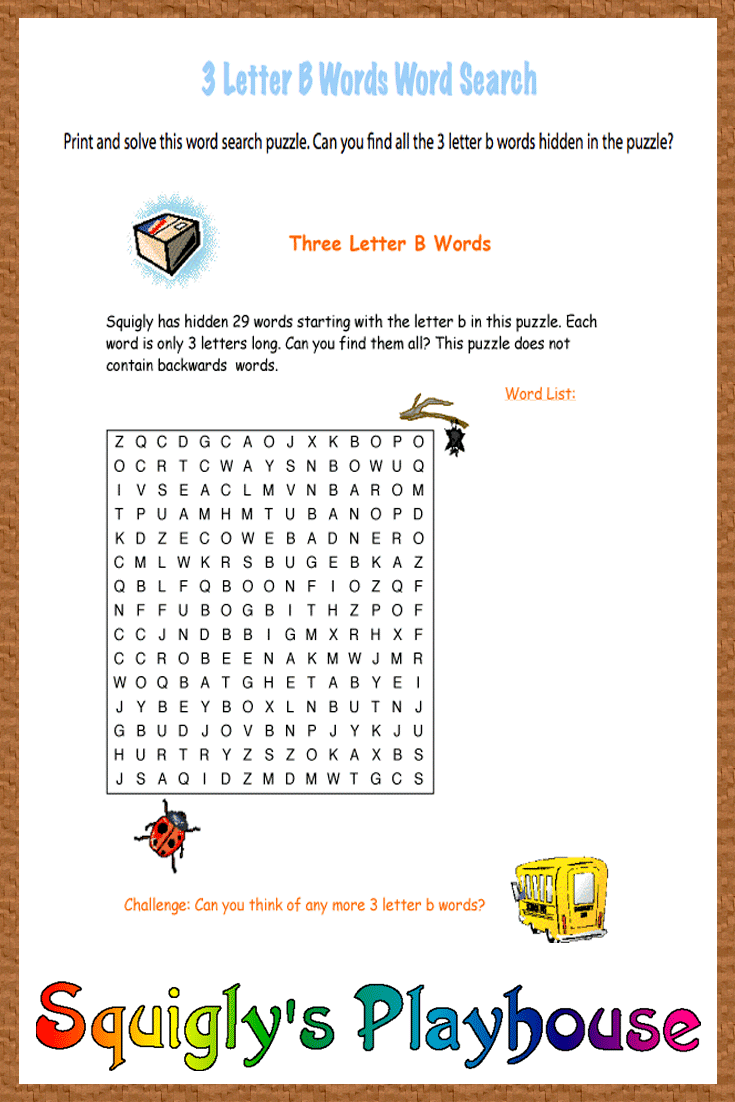 Challenge your child's thinking with the word search puzzle. 29 3
