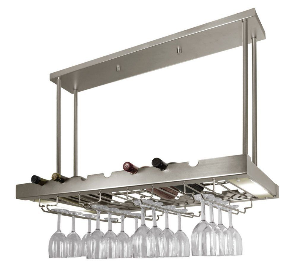 lighted hanging wine rack with glass storage - Hanging Wine Glass Rack