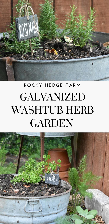 Vintage Galvanized Garden Tub Planters Vertical Herb 400 x 300
