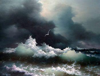 Oil painting seascape ocean waves sea birds before storm ...