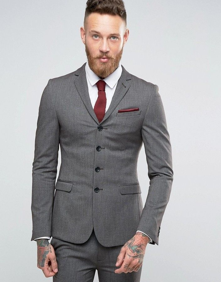 Asos Super Skinny Four Button Suit Jacket in Charcoal a1dbaa6aff3