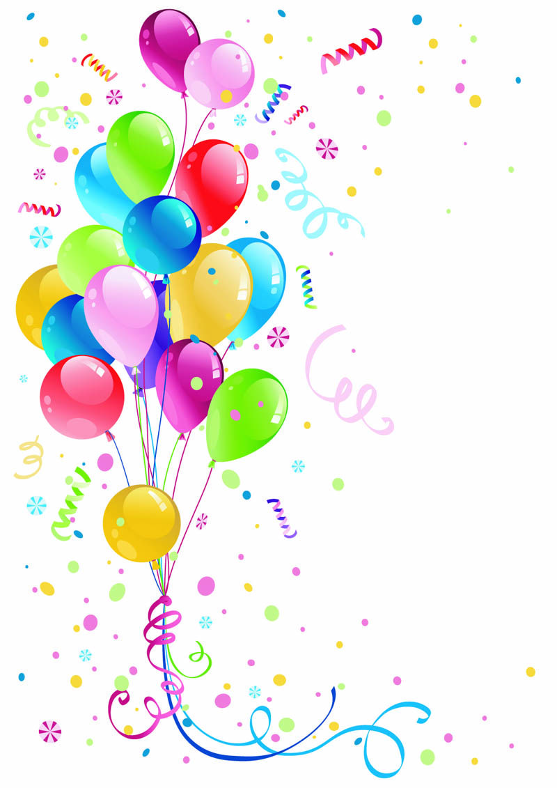 Beautifully Colored Balloons 03 Vector Free Vector Birthday Balloons Balloons Birthday Clipart