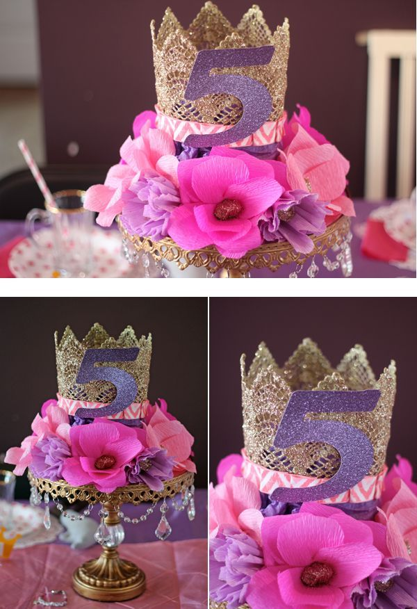 Beautiful crown and floral centerpiece on a cake stand