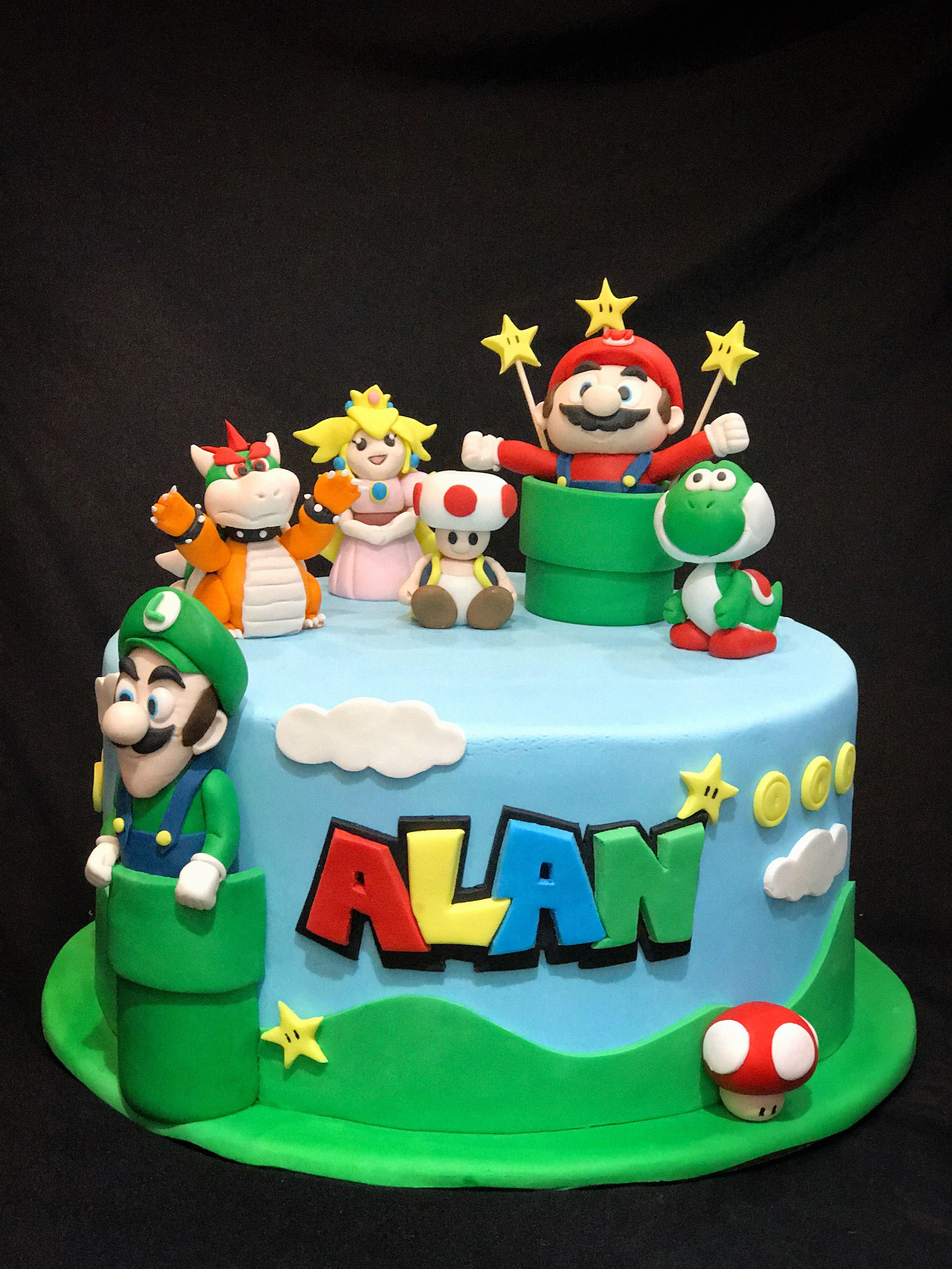 Astounding Super Mario Brothers Birthday Cake Mario Luigi Princess Personalised Birthday Cards Akebfashionlily Jamesorg