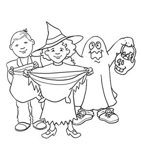 Trick or Treaters Colouring Page
