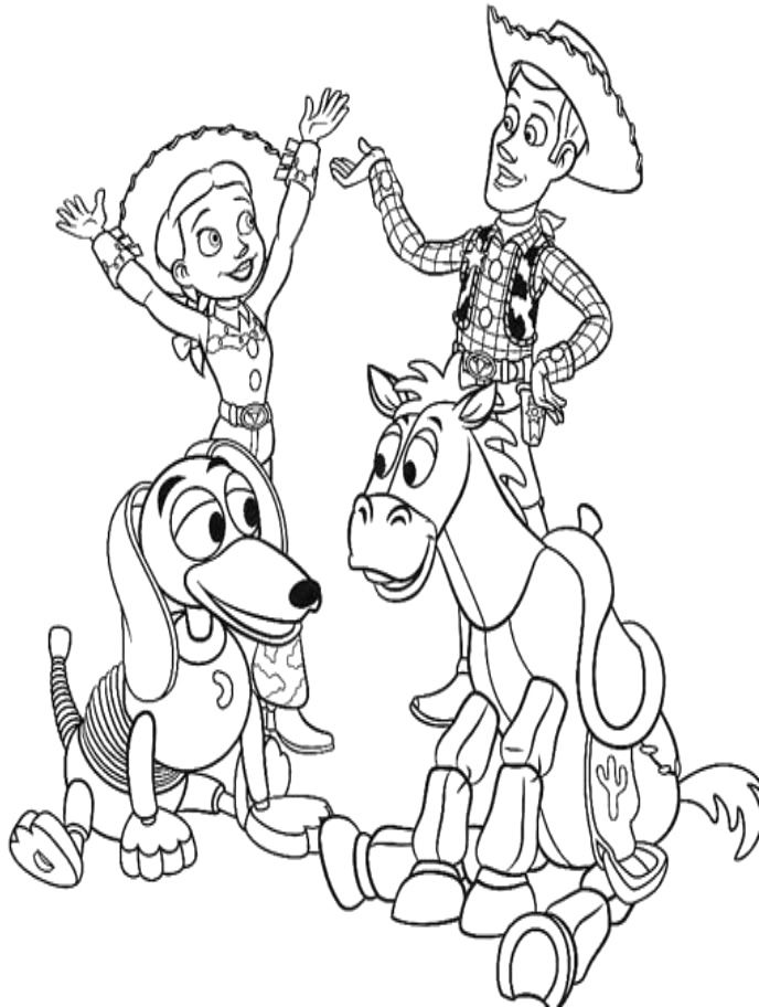Disney Woody Coloring Pages : Toy story woody and jessie with friends coloring for kids