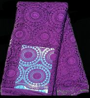 (5yards/lot) SLF50-3, High Quality african100% Cotton Cord French guipure lace fabricpurple color!!wedding dress