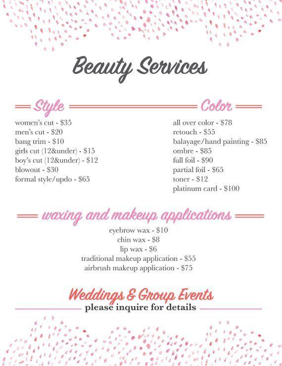 Salon Services Menu Template Salon Services Menu Template Throughout Salon Service Menu Template In 2021 Salon Services Menu Template Salons
