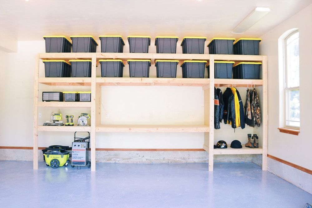 The Ultimate Garage Storage Workbench Solution By Mike Montgomery Modern Builds Free Plans With Images Garage Storage Shelves Garage Organization Diy