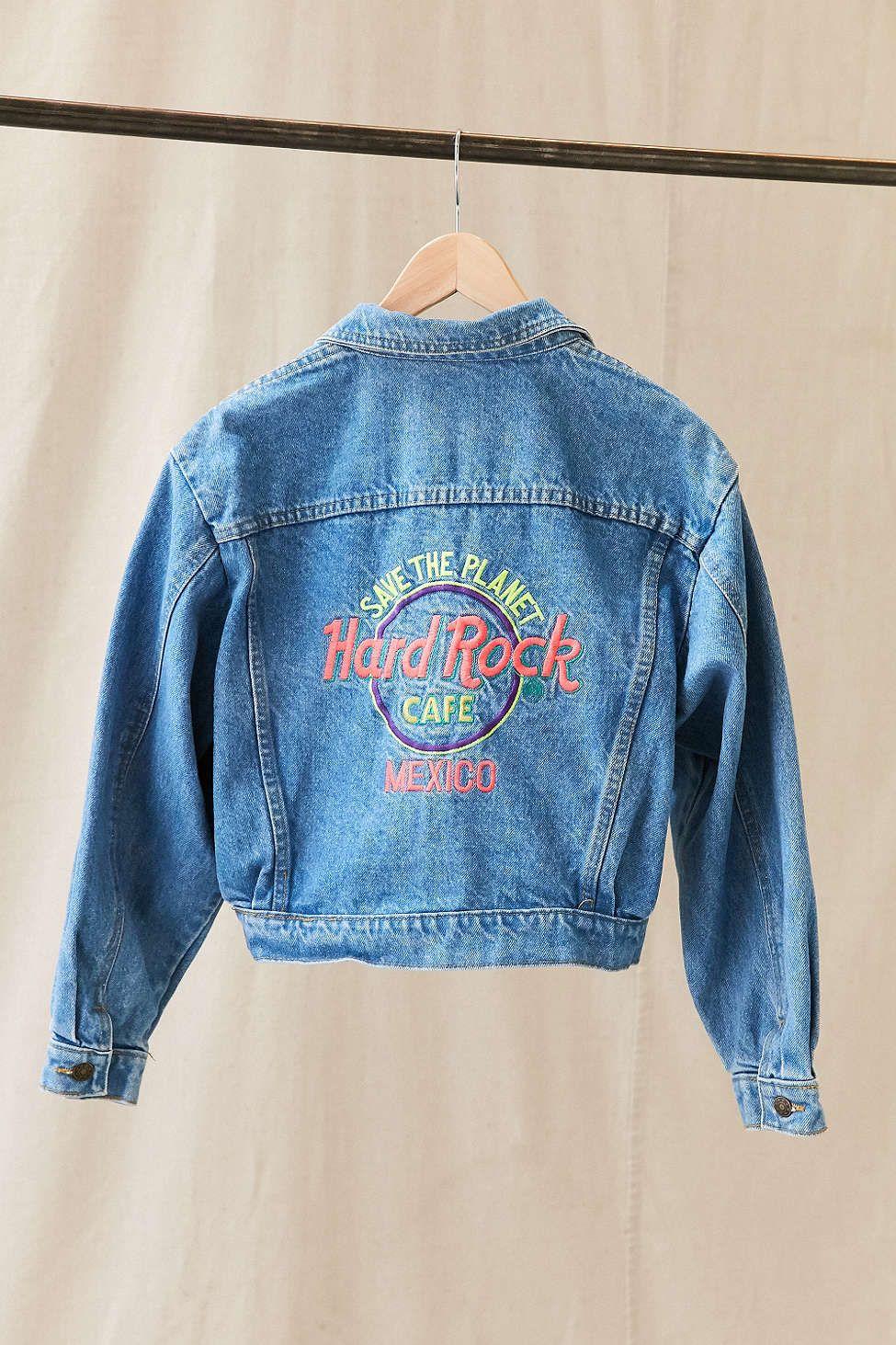 Vintage Hard Rock Mexico Denim Jacket Denim Jacket Vintage Clothes Women Vintage Denim Jacket [ 1463 x 975 Pixel ]