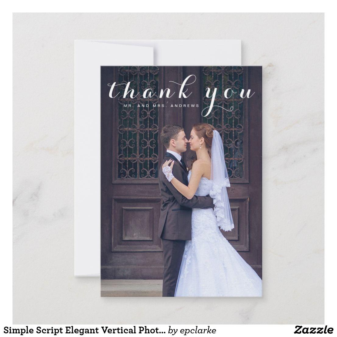 simple script elegant vertical photo wedding thank you