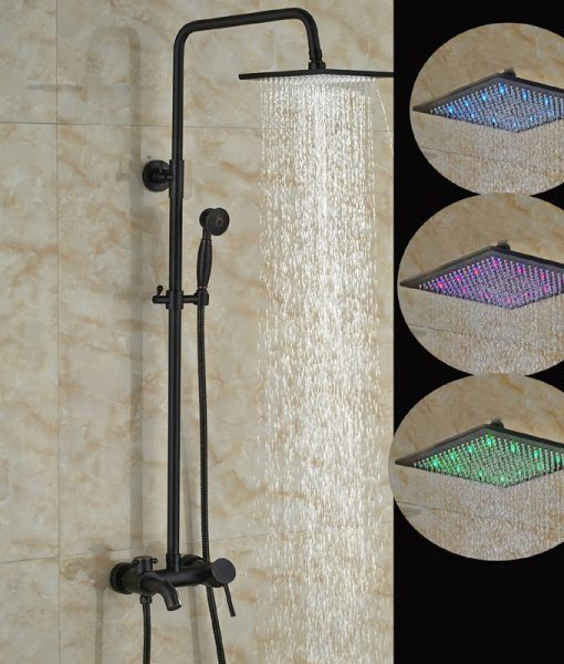 Linville Oil Rubbed Bronze Wall Mounted Square Hot Cold Water Led Rainfall Shower Head With Handheld Shower Tub Spout 8 10 12 16 Funitic Rainfall Shower Head Tub Rain shower head oil rubbed bronze