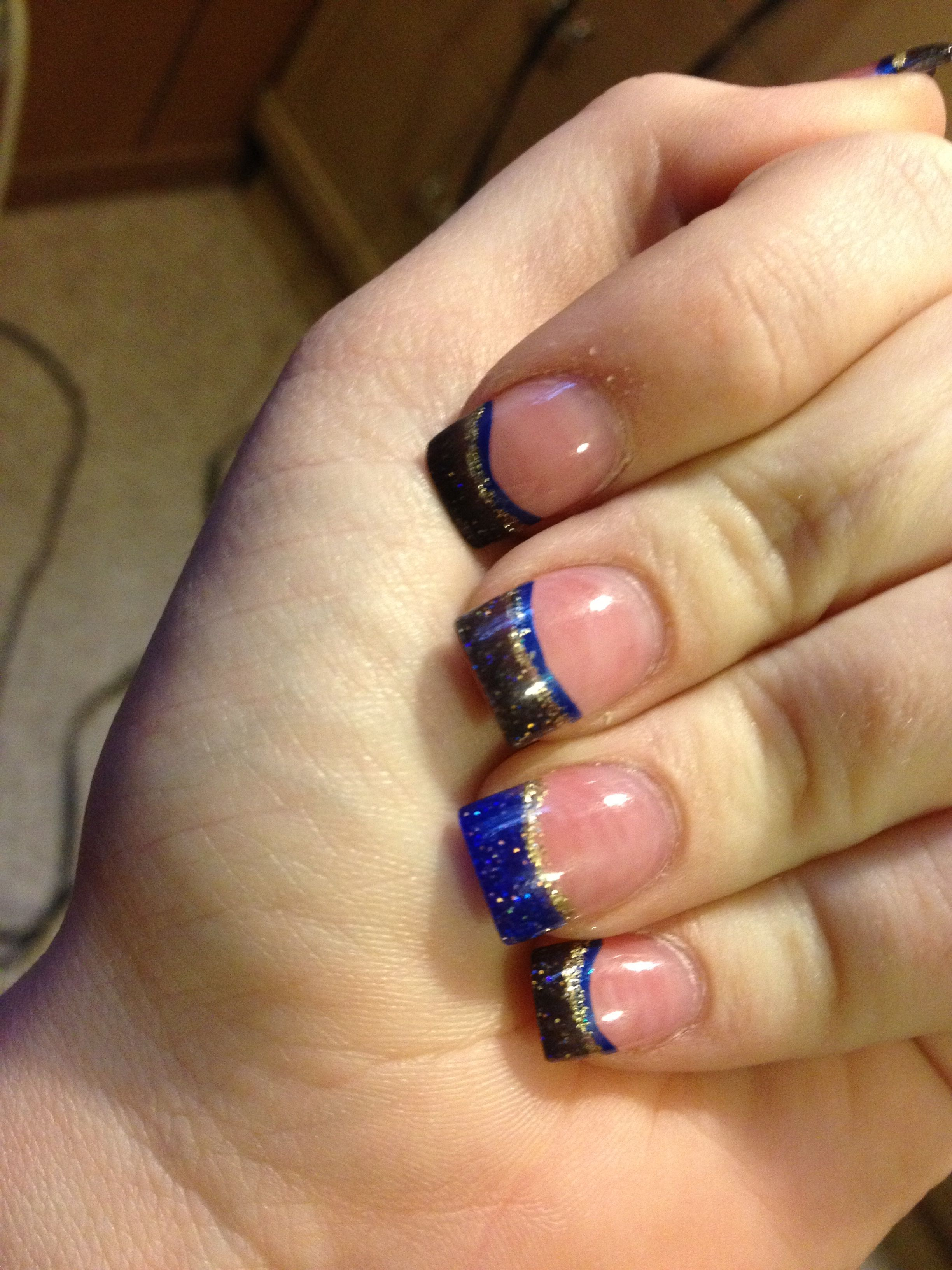Keene Homecoming! Blue, black, & gold solar nails from Friendly ...
