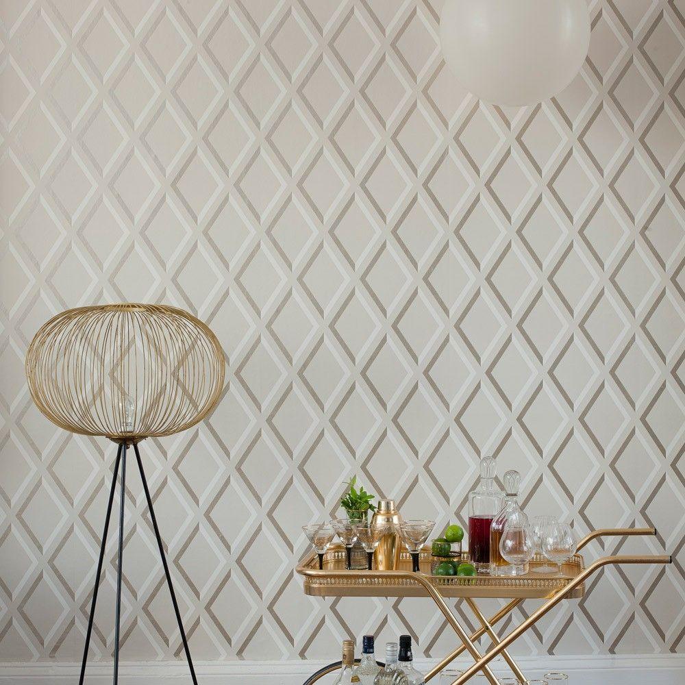 Neutral Trellis Wallpaper: Cole & Son Contemporary Restyled Pompeian Wallpaper