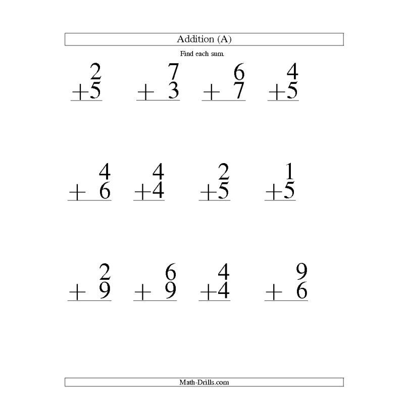 Large Print Addition Worksheet -- Single-Digit Addition -- 9 ...