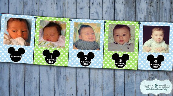 baby mickey mouse first year photo banner 12 month banner mickey mouse first birthday party blue green file to print diy