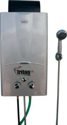 Instant Hot Water From Any Outdoor Faucet Anywhere This Space Saving In Line Water Heater Uses An Easy Tur Camping Shower Portable Water Heater Solar Heating
