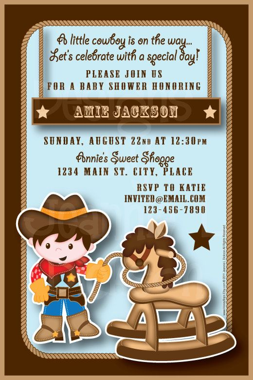 western baby shower invitation cowboy baby by shinysparklyparties, Baby shower invitations