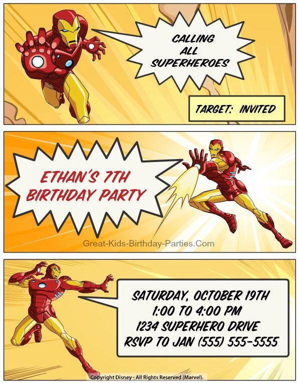 Get Iron Man Birthday Party Invitations