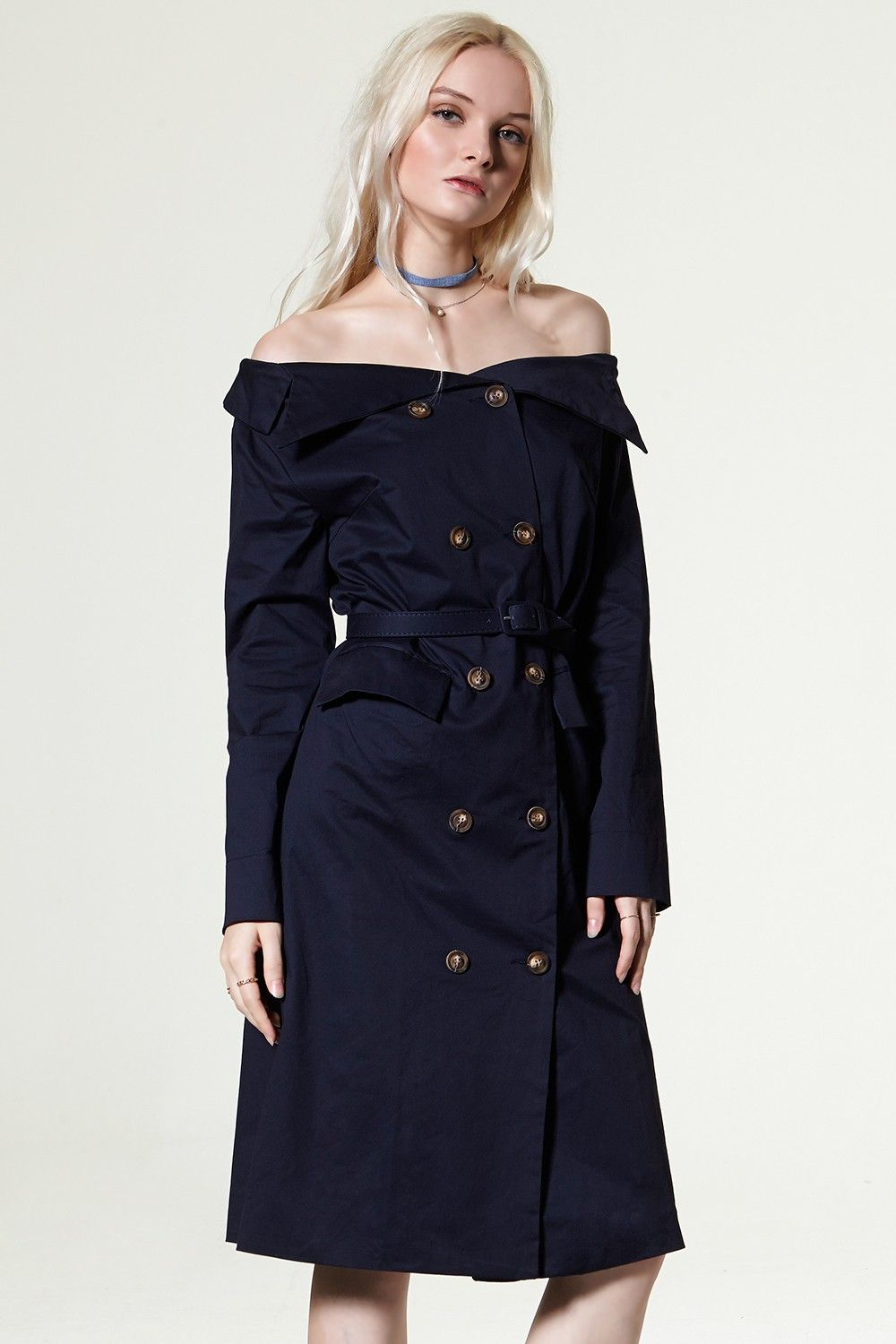 Alana offtheshoulder trench dress discover the latest fashion