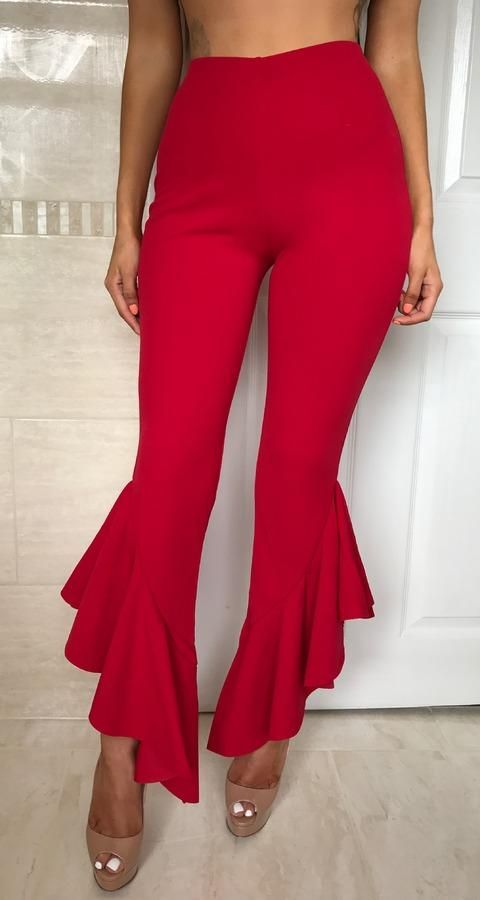 bbb55f60ab HIGH WAIST FLARED RUFFLE ANKLE PANTS in 2019