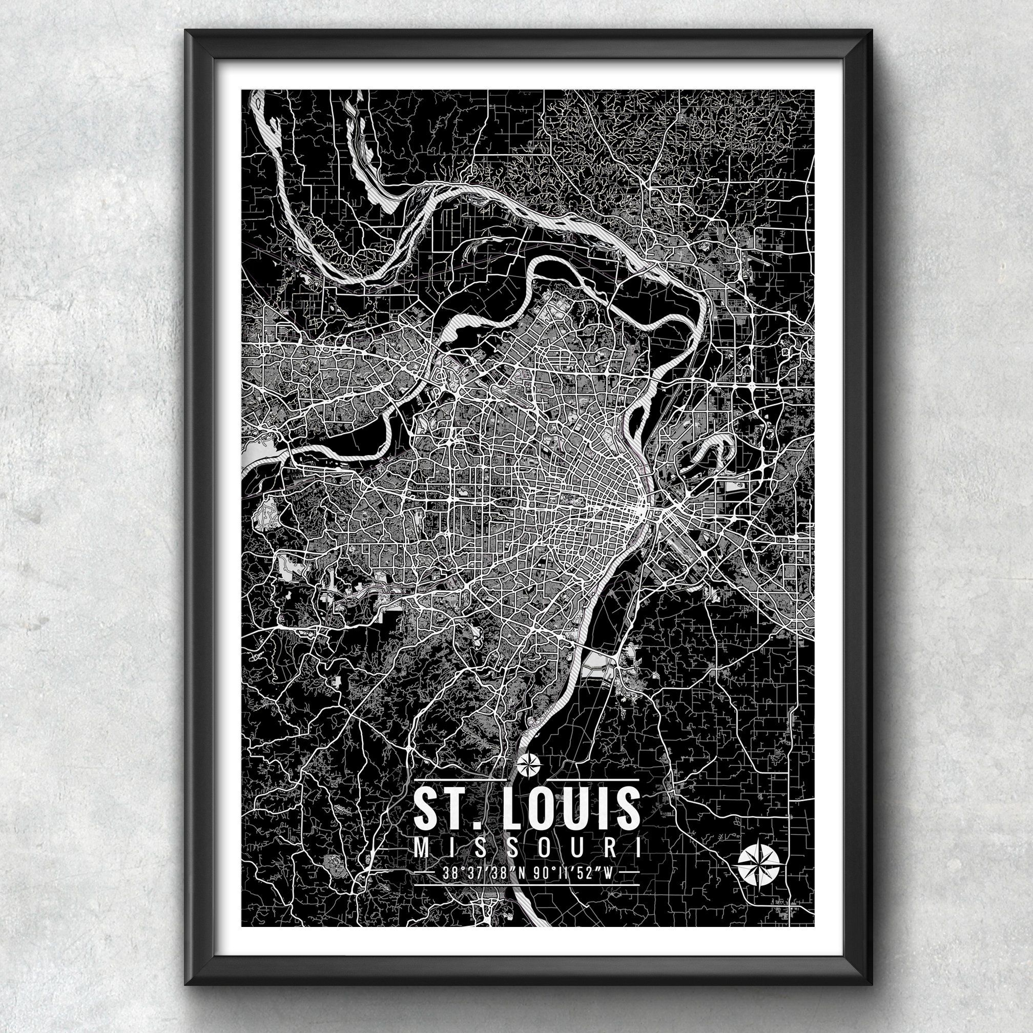 St louis map with coordinates st louis map map art map print