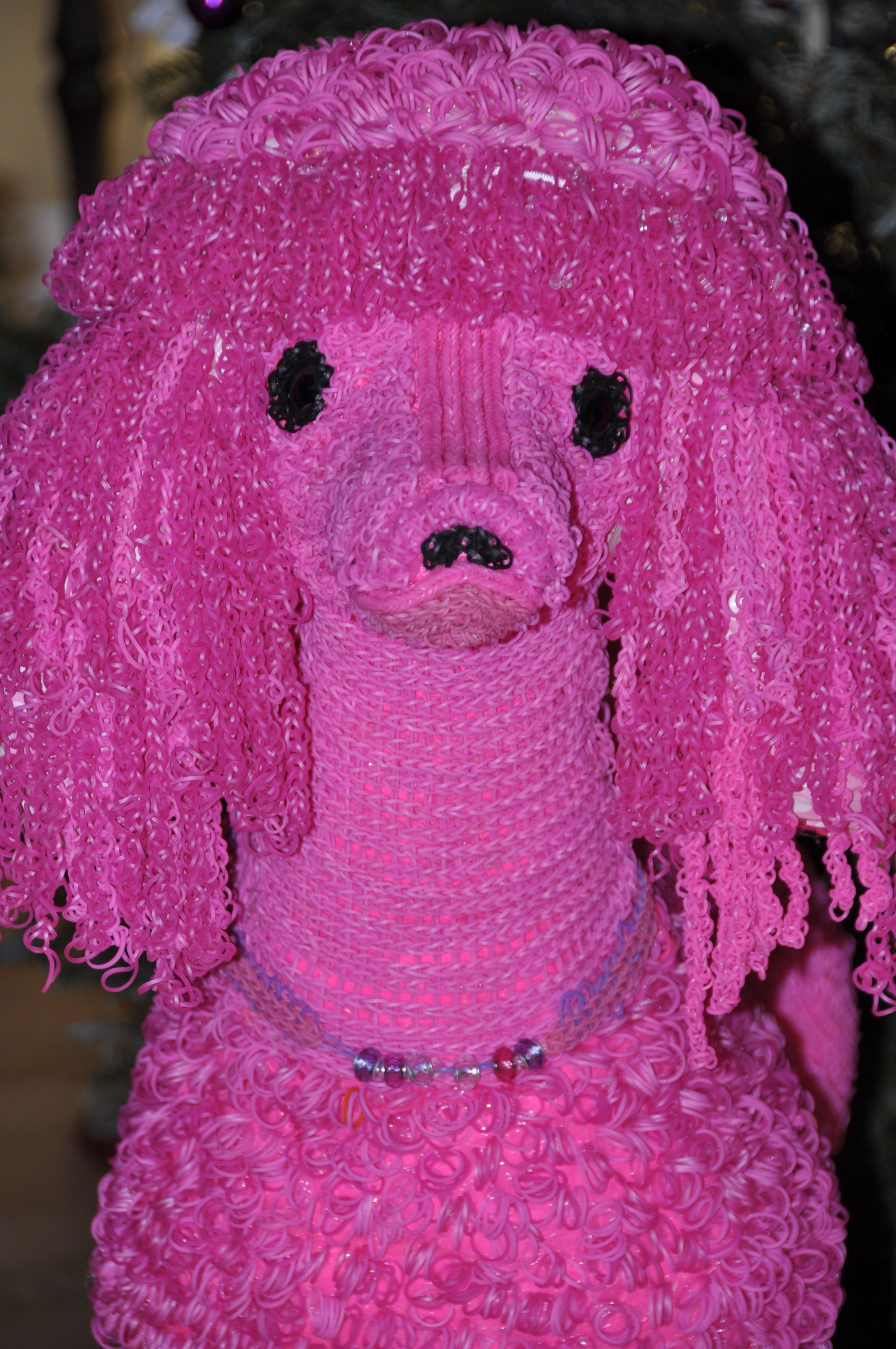 Like The Rubberband Craze 4ft Pink Poodle Made With Rubber Bands