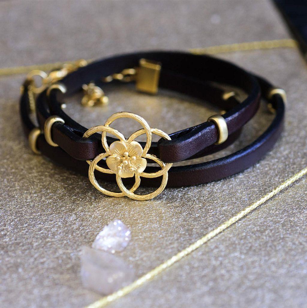 Wrap leather bracelet leather bracelet for women brown leather