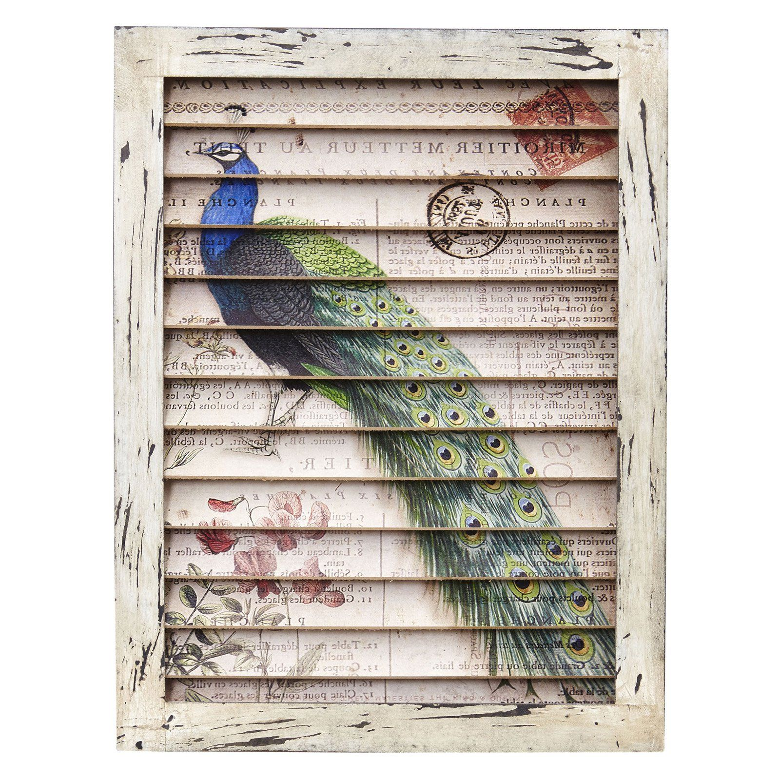 Nearly natural peacock window shutter wall decor products