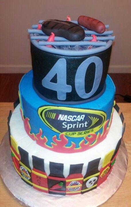 Multi Themed Birthday Cake Grill Nascar Jeff Gordan Hot