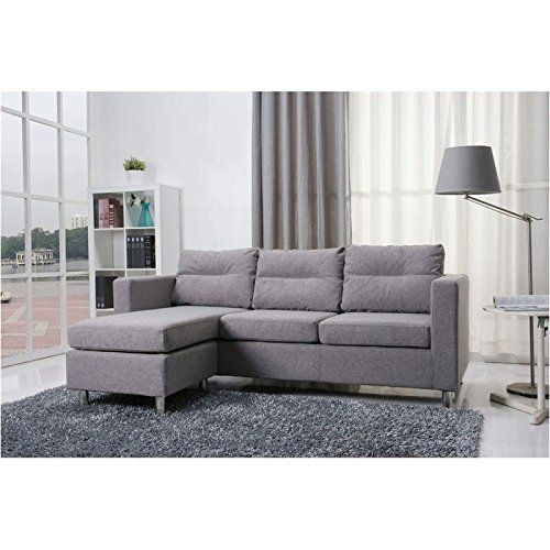 Best Brika Home Fabric Convertible Sofa With Ottoman In Ash 400 x 300