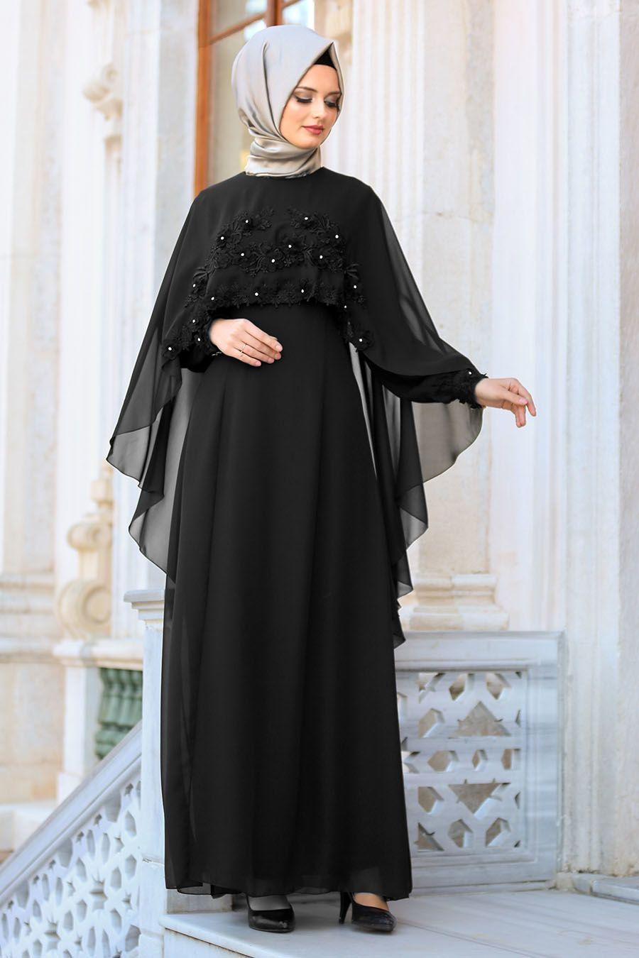 Neva Style Cicek Detayli Siyah Tesettur Abiye Elbise 25661s Tesetturisland Tesettur Tesetturelbise Tesetturgiyi Aksamustu Giysileri The Dress Siyah Abiye