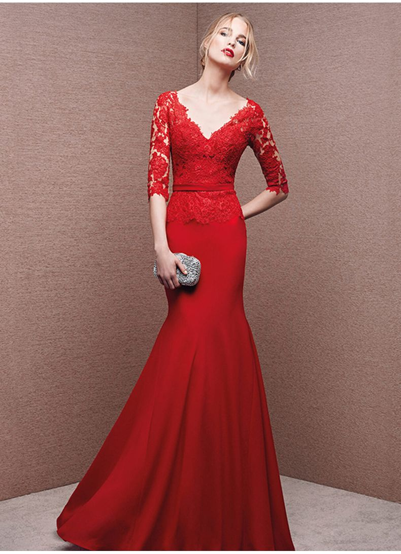 Custom cheap red long mermaid lace prom dresses gowns with half