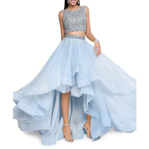 cef6a7ed7845 Glamour By Terani Couture Two-Piece Embellished Prom Dress Set ($277) ❤  liked on Polyvore featuring dresses, powder blue, sleeveless long dress, ...