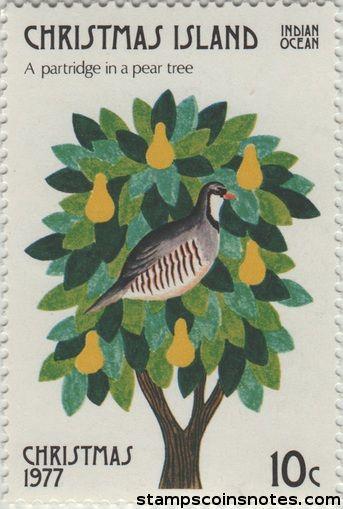 christmas island postage stamp bird christmas fruit partridge pear 1977