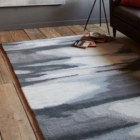 Faded Ikat Wool Rug - Slate Zuhause
