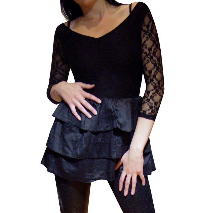 25 € superbe robe Tunique dentelle façon tutu froufrou noir