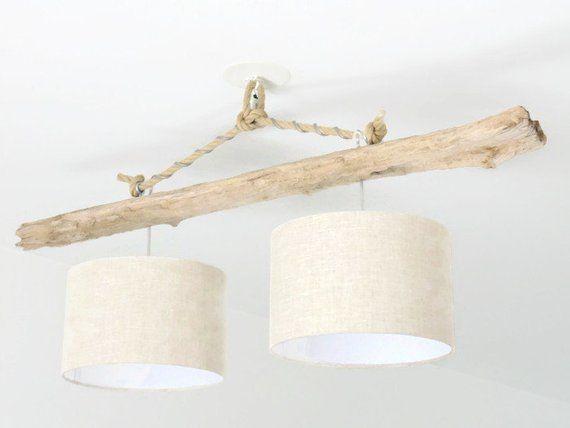 lustre plafonnier bois flott abat jour lin 28 cm double. Black Bedroom Furniture Sets. Home Design Ideas