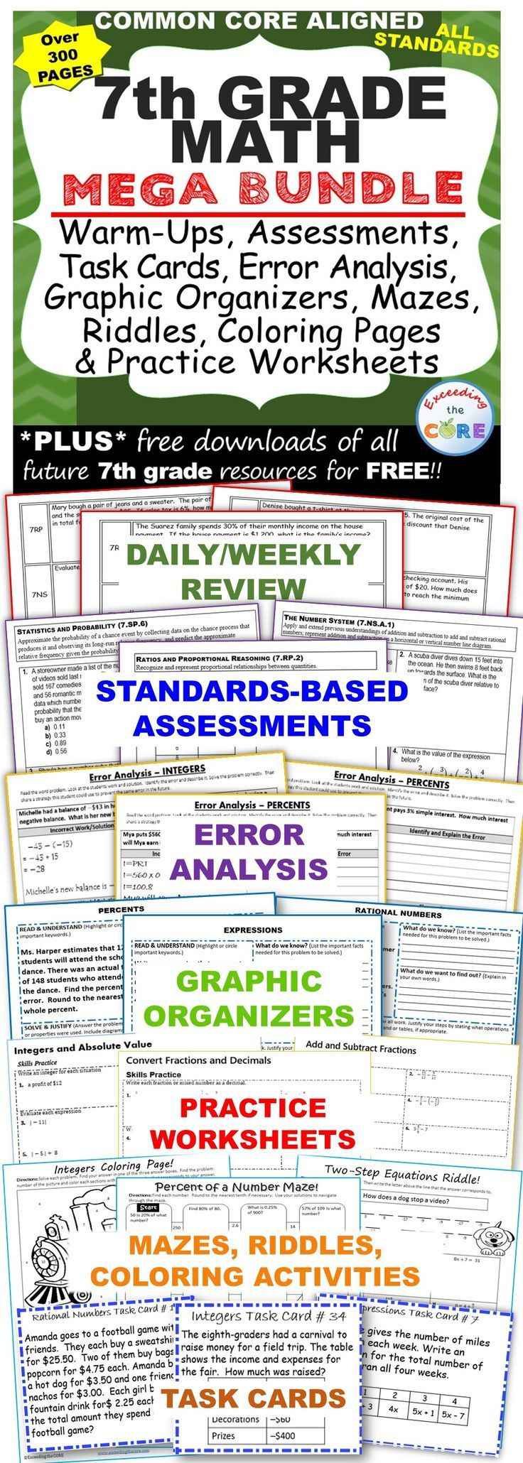 worksheet Common Core 7th Grade Math Worksheets 7th grade math common core assessments warm ups task cards mega bundle includes 38 of my top selling resources over