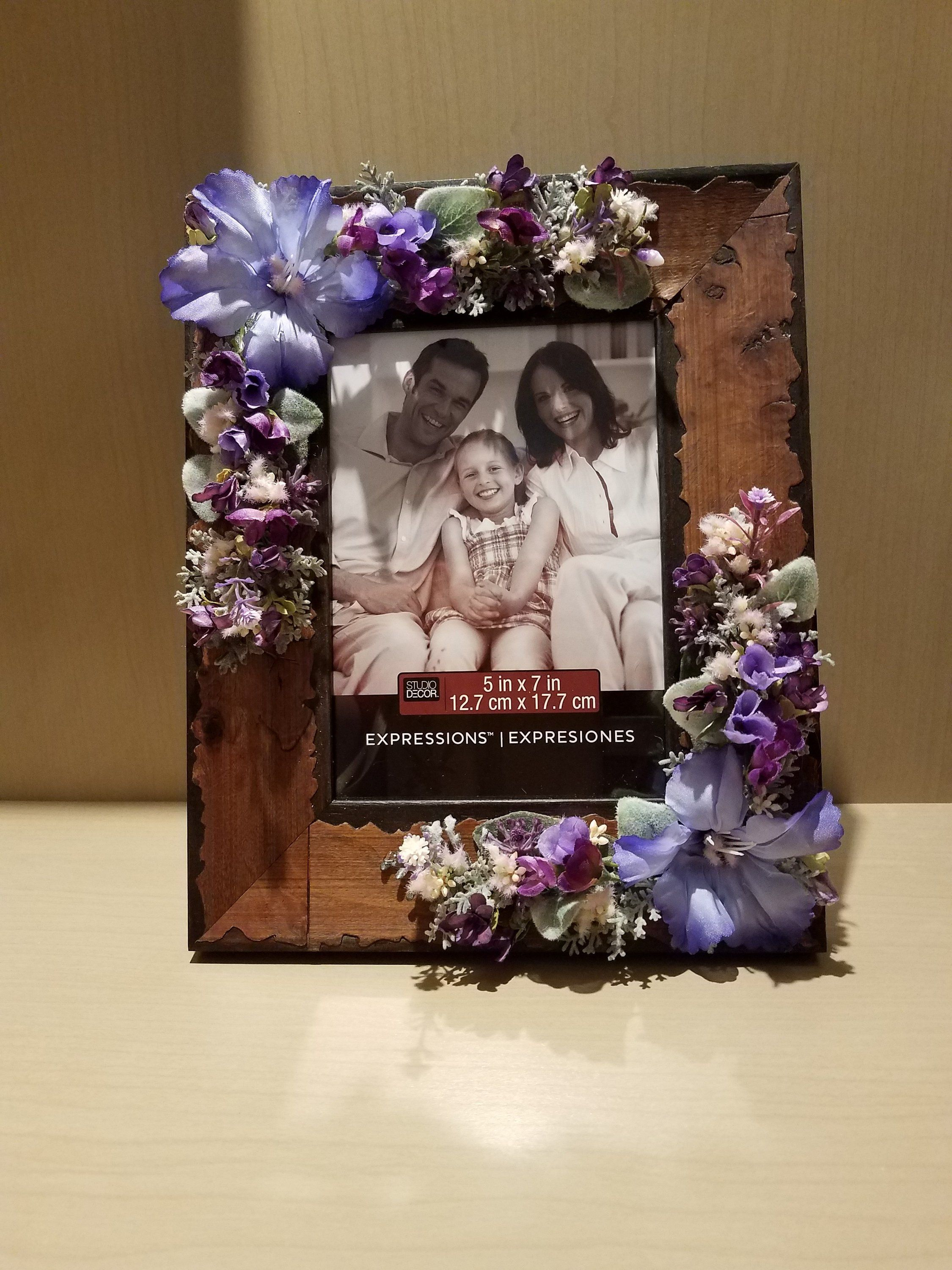 Picture Frame Adorned with Silk Flowers, Decorative Frame